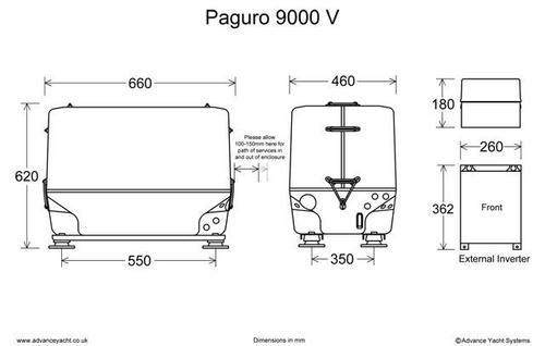 Paguro 9000V Marine Generator Dimensions