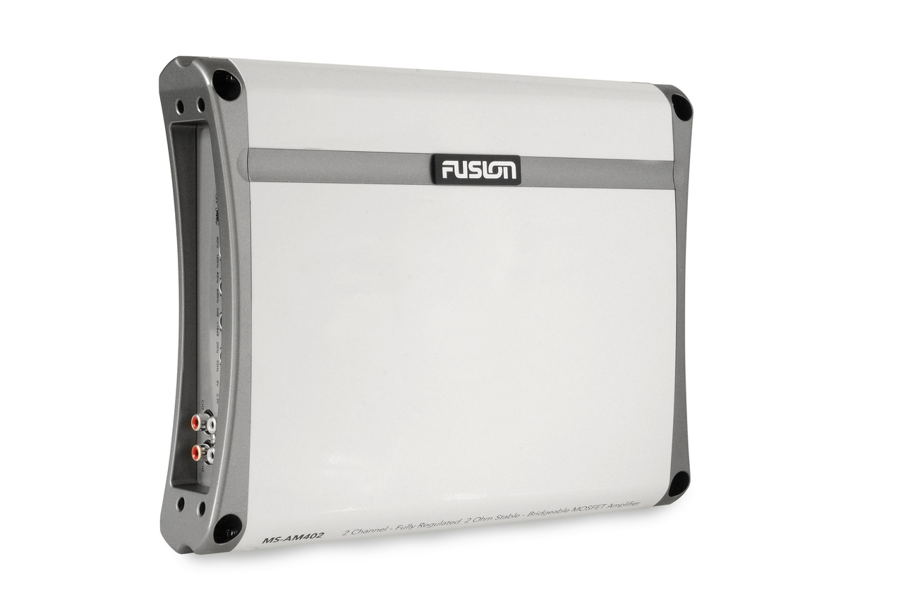 Fusion MS-AM402 2 Channel Marine Amplifier Angled