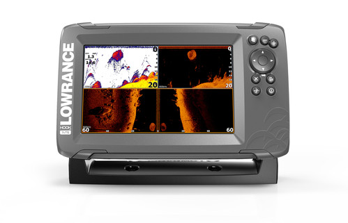Lowrance Hook2-7x with splitshot transducer front