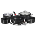 "Magma ""Nesting"" 10-Piece Induction Compatible Cookware - Jet Black Exterior & Slate Black Ceramica Non-Stick Interior [A10-366JB-2-IND]"