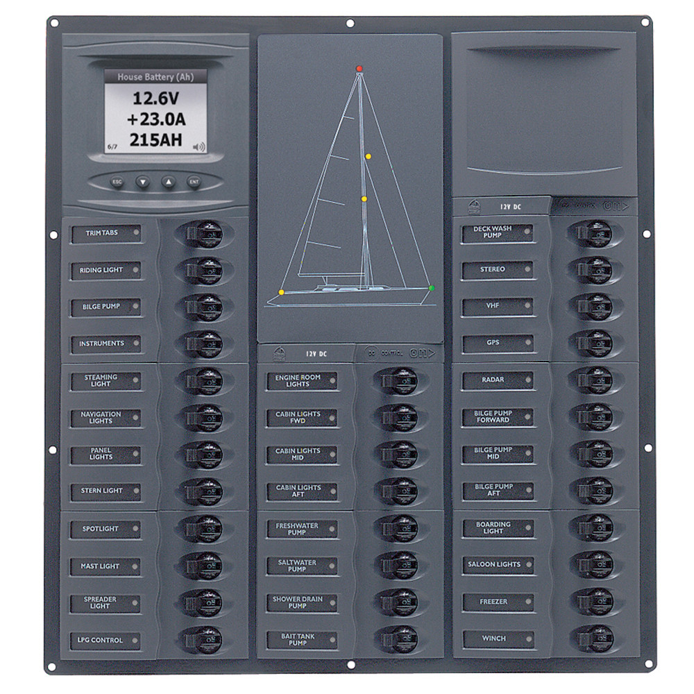 Bep Cruiser Series Dc Circuit Breaker Panel W Digital Meters 32sp Dc12v Nc32y Dcsm