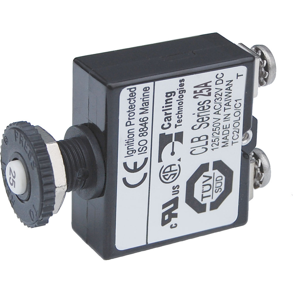 Blue Sea Push Button Reset Only Screw Terminal Circuit Breaker 25 Add A Amps 2135