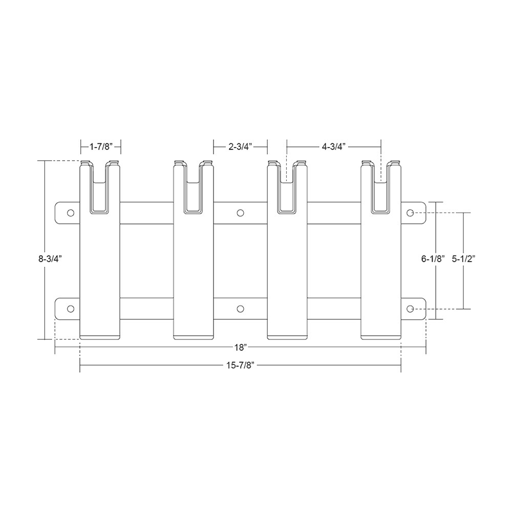 TACO Aluminum//Poly 3-Rod Rack Holder