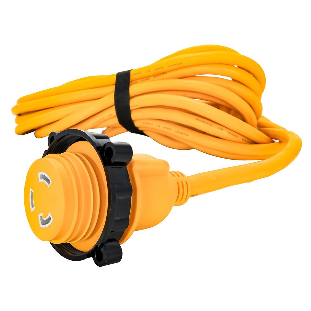 Camco 30 Amp Power Grip Marine Extension Cord 50 M Locking F Locking Adapter 55613