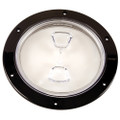 "Beckson  6"" Clear Center Screw-Out Deck Plate - Black [DP60-B-C]"