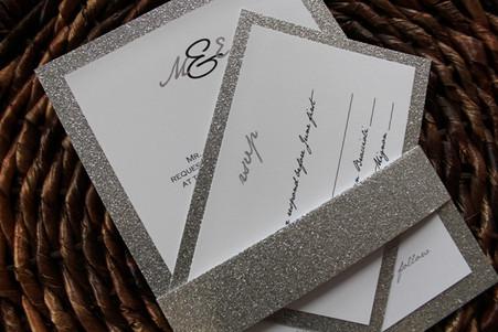 Silver Glitter Invitation Belly Band