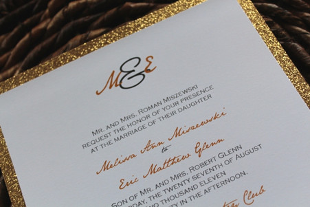 Square Gold Glitter Invitation Mat