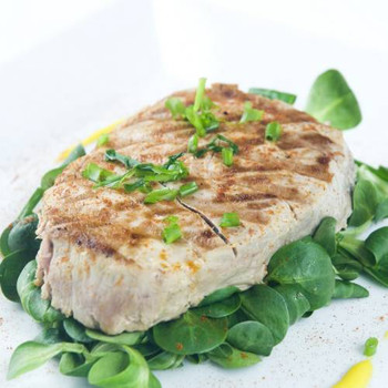 Yellowfin Tuna Steak - Luscious taste and an excellent source of protein. Season them lightly and grill, bake or broil. Can also be sauteed or poached...
