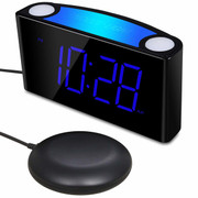 Large Digital Loud Alarm Clock with Bed Shaker and 7-Color Nightlights