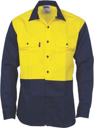 3406 - 190gsm Flame Retardant Two Tone Drill Shirt, L/S