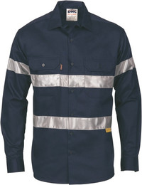 3835 - 190gsm HiVis Shirt w/Hoop Style Tape, L/S