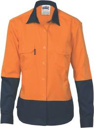 3940 - 155gsm Ladies HiVis Drill Shirt Airflow