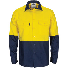 3733 HiVis L/W Cool-Breeze T2 Vertical Vented Cotton Shirt with Gusset Sleeves - Long Sleeve