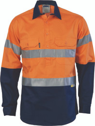 3849 - HiVis Two Tone Closed Front Cotton Shirt  - 3M TAPE