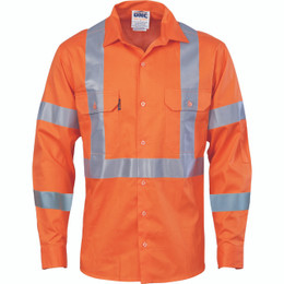 3789 - Hivis cool-breeze cotton shirt with double hoop on arms & 'X' back CSR R/tape - L/S