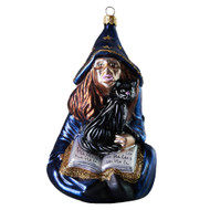 Hand crafted Christmas ornament Witch with cat