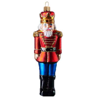 traditional nutcracker christmas ornament in red coat glass christmas ornament made by glassor mouth - Nutcracker Christmas Ornaments