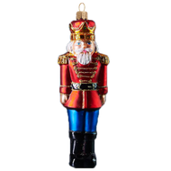 Traditional Nutcracker Christmas Ornament in Red Coat. Glass Christmas ornament made by GLASSOR. Mouth-blown and hand-painted.