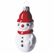 Snowman with red hat Christmas glass ornament. Mouth-blown and hand-painted.