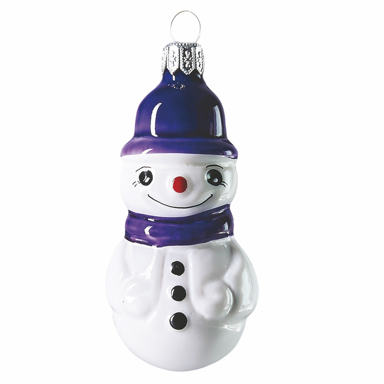 Snowman With Purple Hat Hand Crafted Christmas Ornament Made Of Glass Mouth Blown
