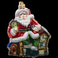 Santa with clocks hand made glass ornament