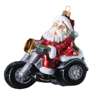 Motorcycle Santa handcrafted Christmas glass ornament