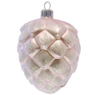 Hand crafted Christmas ornament Frosted purple pinecone