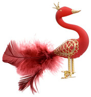 Hand crafted Christmas ornament Crowned red swan with clip attachment