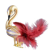 Handcrafted Christmas ornament Ornate gold swan with clip attachment
