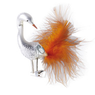 Handcrafted Christmas ornament Plumed white swan with clip attachment