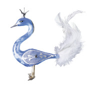 Hand crafted Christmas ornament Crowned powder blue swan with clip attachment