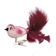 Ruby Song Bird with Clip Attachment handcrafted glass Christmas ornament.