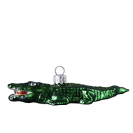 Handcrafted Christmas ornament Crocodile mouth-blown and hand-painted glass Christmas decoration.