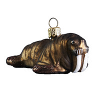 Glass mouth-blown Christmas ornament by GLASSOR  brown Walrus