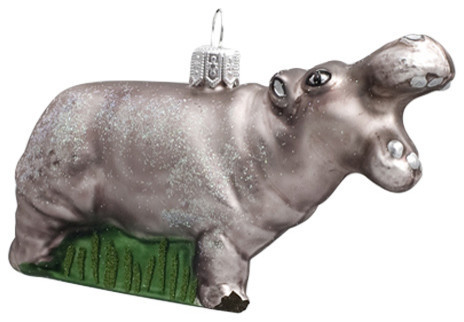 Hippo handcrafted glass Christmas ornament by GLASSOR - Hippo Handmade Glass Christmas Ornament