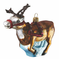 Rudolph reindeer Christmas ornament made of glass. Mouth-blown and hand-painted.
