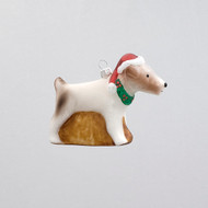 Jack Russell Terrier Dog with Santa Hat Glass Christmas Ornament