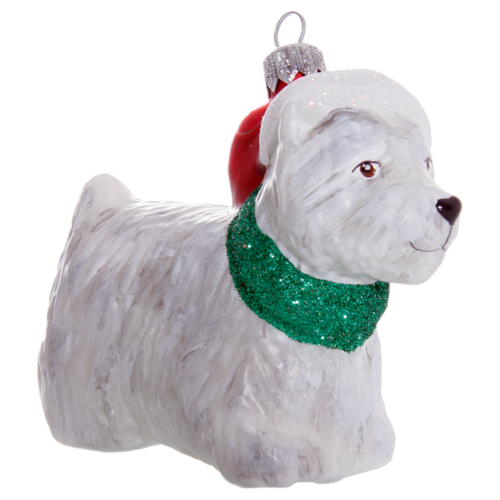 Hand crafted Christmas ornament White Scottie dog with Santa hat