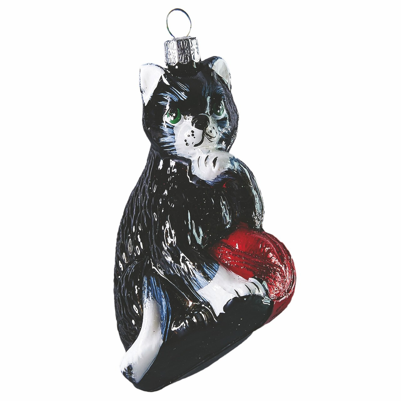 hand crafted christmas ornament black cat with red ball - Black Cat Christmas Ornament