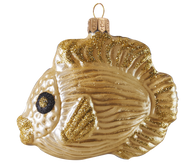 Moth-blown and hand-painted glass Christmas ornament Copper tropical fish. Shipped from Ohio, U.S.