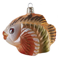 Hand crafted Christmas ornament Orange and green fish