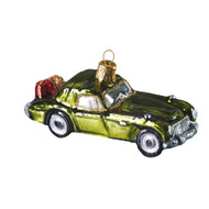 Vintage green off-road vehicle handcrafted glass Christmas ornament