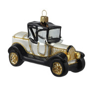 Vintage Sterling Silver Model T Ornament, mouth-blown and hand-painted glass Christmas decoration by GLASSOR.