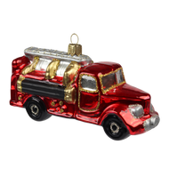 Vintage firetruck handcrafted Christmas glass ornament