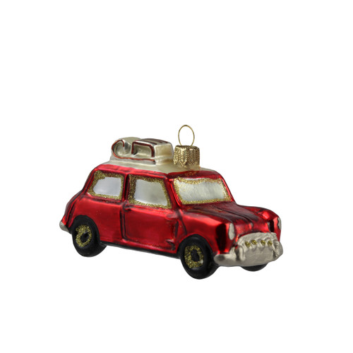 Handcrafted Christmas ornament Red car with sled mouth-blown and hand-painted Christmas decoration by GLASSOR.  Our bestseller !