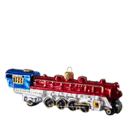 Large Locomotive Steam Train Engine Blown Ornament , mouth-blown and hand-painted.