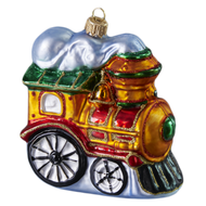 Handcrafted Vintage Steam Train Christmas Ornament, mouth-blown and hand-painted by GLASSOR.