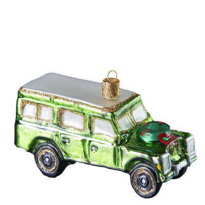 Green Off-road Vehicle Christmas Glass Ornament. Mouth-blown and  hand-painted - Green Off-road Vehicle Handmade Glass Christmas Ornament