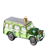 Green Off-road Vehicle Christmas Glass Ornament.  Mouth-blown and hand-painted.