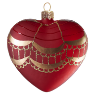 Red Heart With Gold Tassels Ornament, mouth-blown and hand-painted old world European ornament.